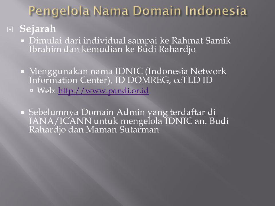  Sejarah  Dimulai dari individual sampai ke Rahmat Samik Ibrahim dan kemudian ke Budi Rahardjo  Menggunakan nama IDNIC (Indonesia Network Informati