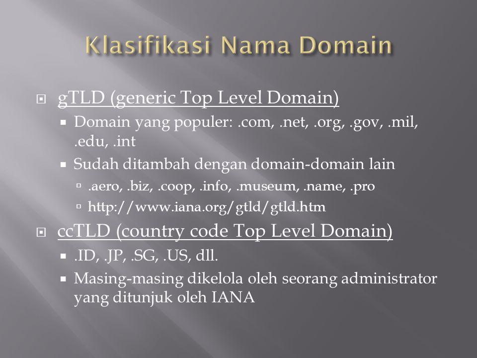 gTLD (generic Top Level Domain)  Domain yang populer:.com,.net,.org,.gov,.mil,.edu,.int  Sudah ditambah dengan domain-domain lain .aero,.biz,.coo