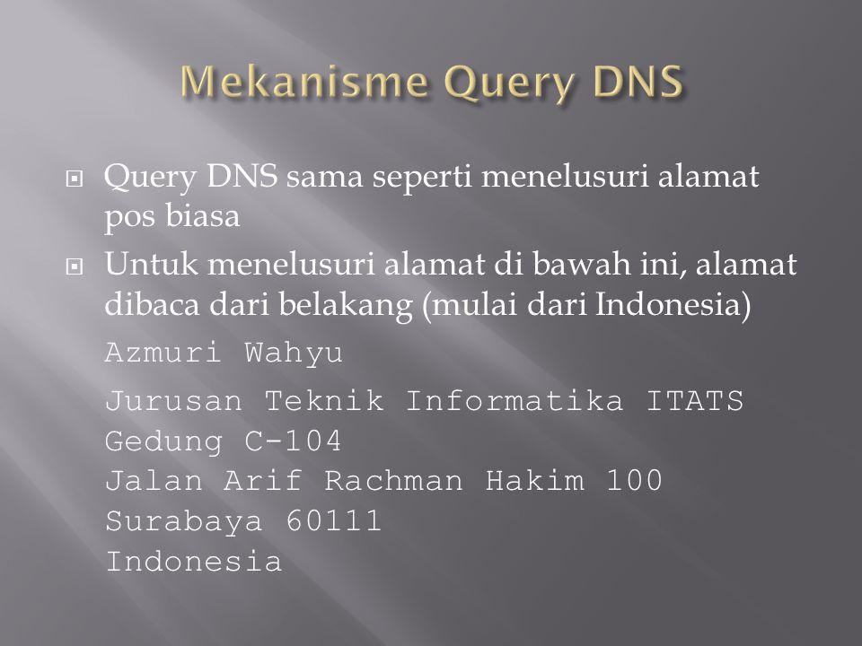  Query DNS sama seperti menelusuri alamat pos biasa  Untuk menelusuri alamat di bawah ini, alamat dibaca dari belakang (mulai dari Indonesia) Azmuri