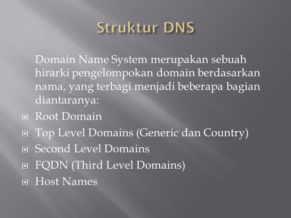 Domain Name System merupakan sebuah hirarki pengelompokan domain berdasarkan nama, yang terbagi menjadi beberapa bagian diantaranya:  Root Domain  T