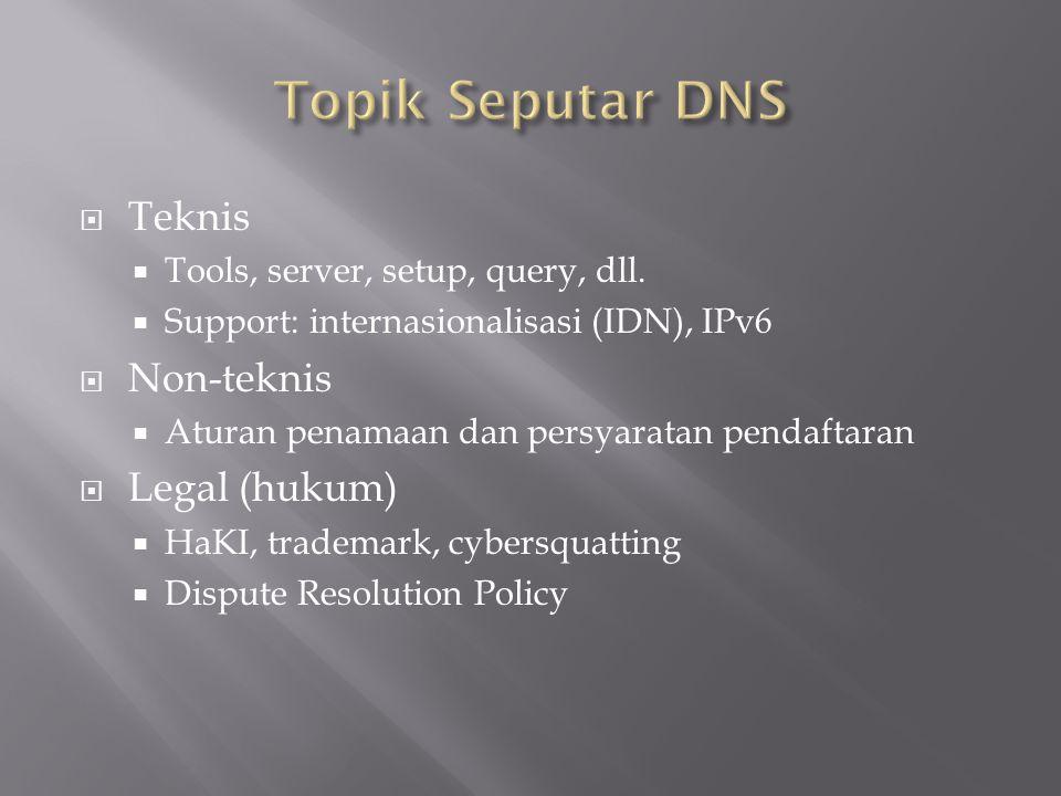  Teknis  Tools, server, setup, query, dll.  Support: internasionalisasi (IDN), IPv6  Non-teknis  Aturan penamaan dan persyaratan pendaftaran  Le