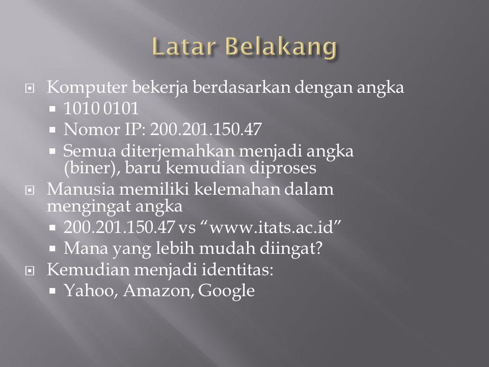  Diperlukan sebuah konversi dari nama ke angka dan sebaliknya  Cara paling mudah adalah dengan menggunakan tabel  Di sistem UNIX ada berkas /etc/hosts  Contoh isinya 167.205.21.81router 167.205.21.82www.itats.ac.id 167.205.21.83mail-server 167.205.21.84asimov