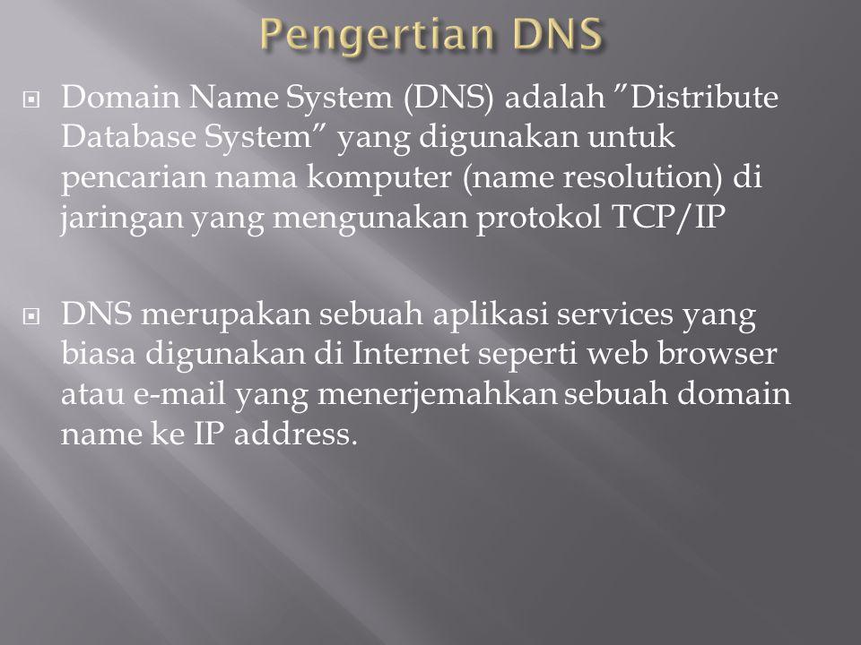 """ Domain Name System (DNS) adalah """"Distribute Database System"""" yang digunakan untuk pencarian nama komputer (name resolution) di jaringan yang menguna"""