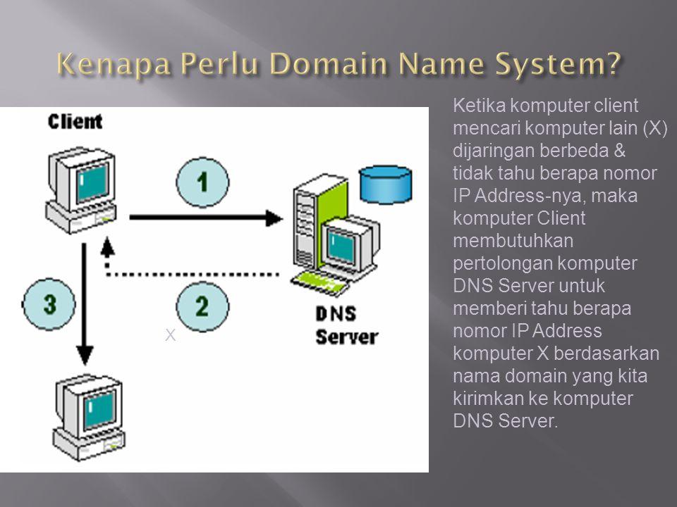 Ketika komputer client mencari komputer lain (X) dijaringan berbeda & tidak tahu berapa nomor IP Address-nya, maka komputer Client membutuhkan pertolo