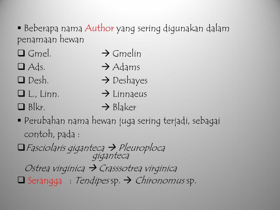  Beberapa nama Author yang sering digunakan dalam penamaan hewan  Gmel.