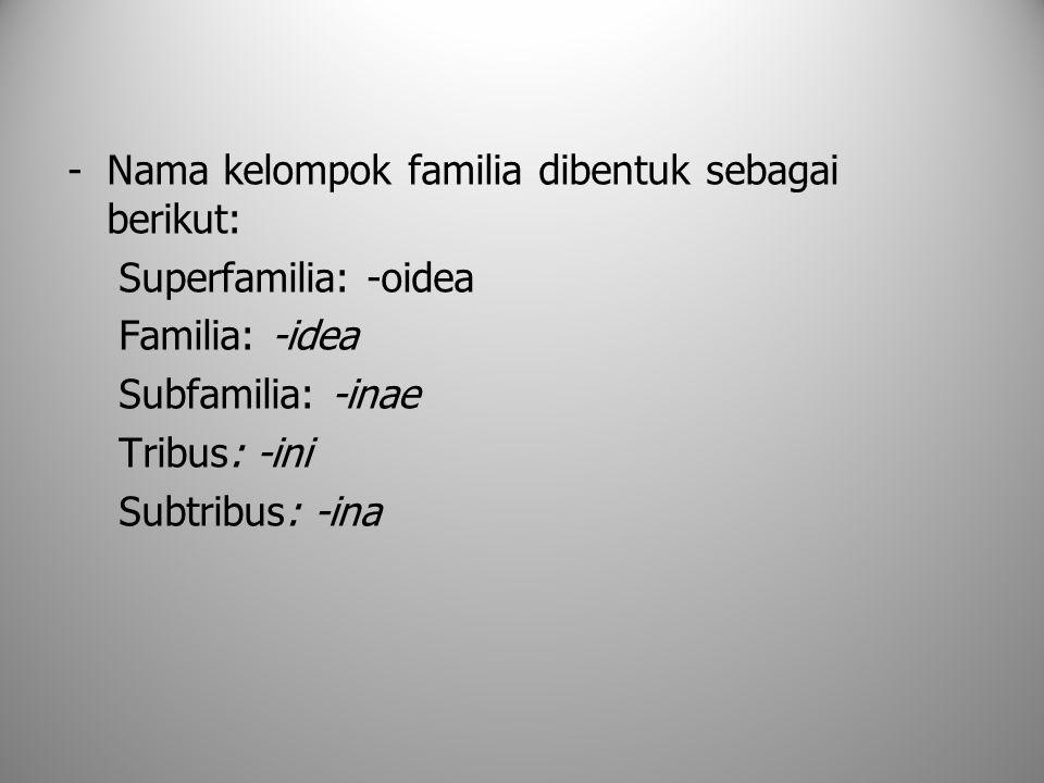 -Nama kelompok familia dibentuk sebagai berikut: Superfamilia: -oidea Familia: -idea Subfamilia: -inae Tribus: -ini Subtribus: -ina