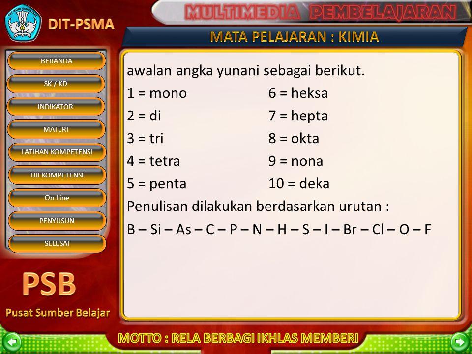 BERANDA SK / KD INDIKATOR MATERI On Line PENYUSUN SELESAI LATIHAN KOMPETENSI UJI KOMPETENSI 2. Jika senyawa biner terdiri atas unsur bukan logam dan b
