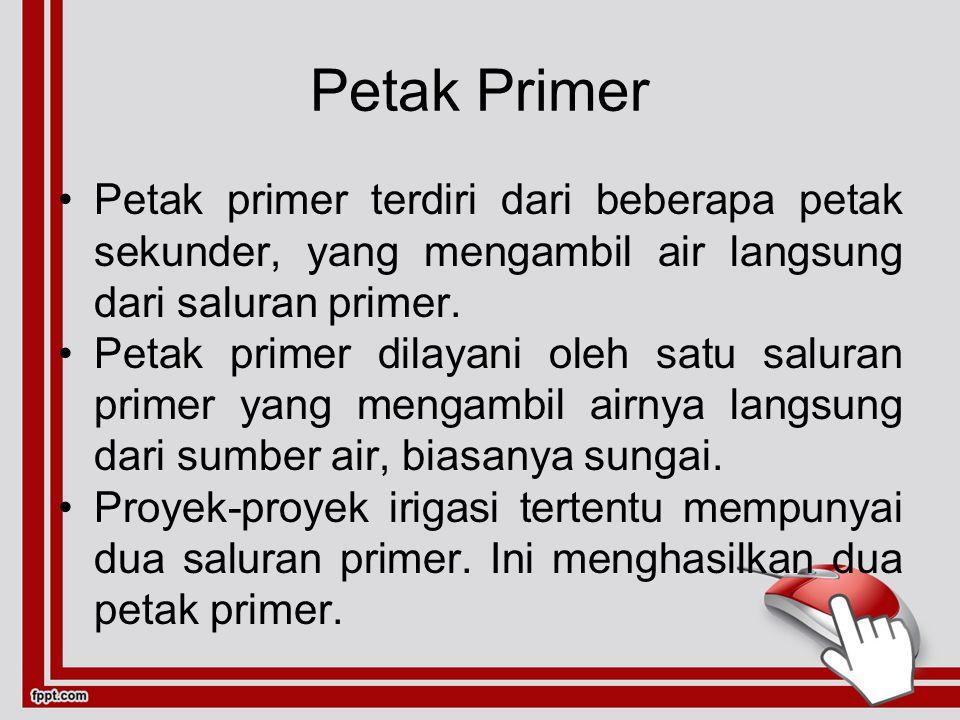 Petak Primer Petak primer terdiri dari beberapa petak sekunder, yang mengambil air langsung dari saluran primer. Petak primer dilayani oleh satu salur