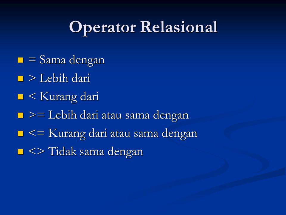 Operator Relasional = Sama dengan = Sama dengan > Lebih dari > Lebih dari < Kurang dari < Kurang dari >= Lebih dari atau sama dengan >= Lebih dari atau sama dengan <= Kurang dari atau sama dengan <= Kurang dari atau sama dengan <> Tidak sama dengan <> Tidak sama dengan