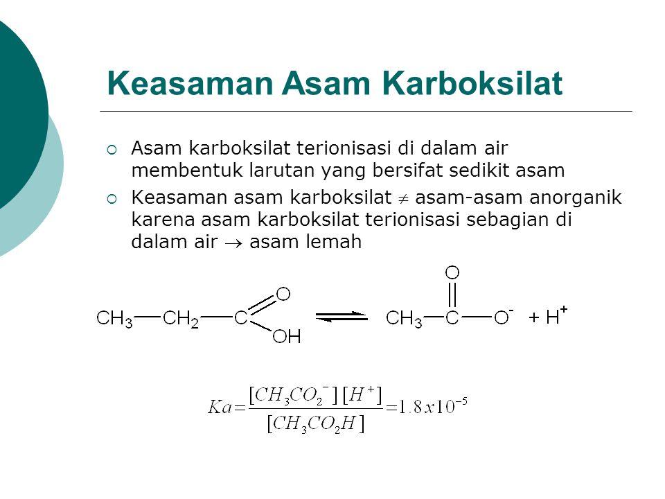Keasaman Asam Karboksilat  Asam karboksilat terionisasi di dalam air membentuk larutan yang bersifat sedikit asam  Keasaman asam karboksilat  asam-