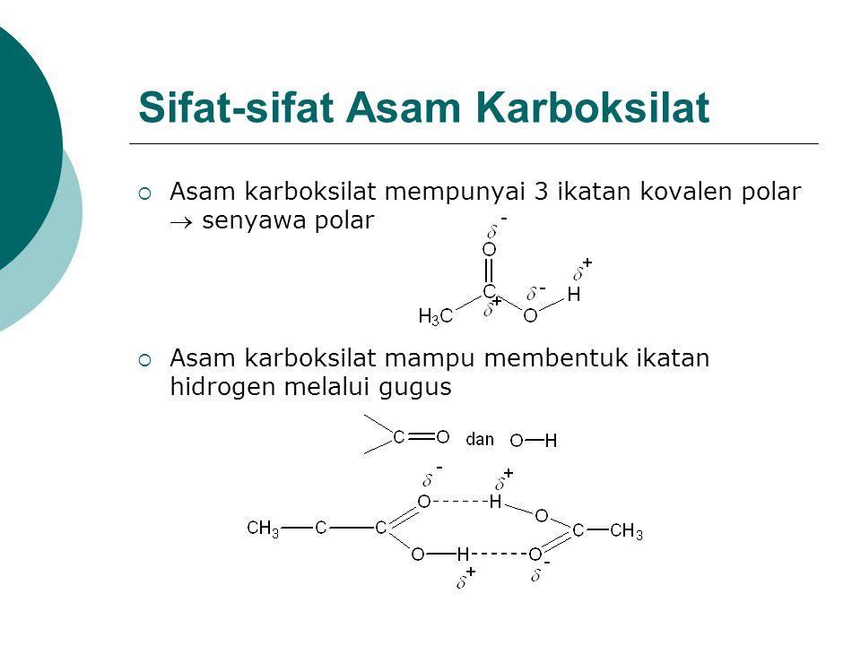 Sifat-sifat Asam Karboksilat  Asam karboksilat mempunyai 3 ikatan kovalen polar  senyawa polar  Asam karboksilat mampu membentuk ikatan hidrogen me