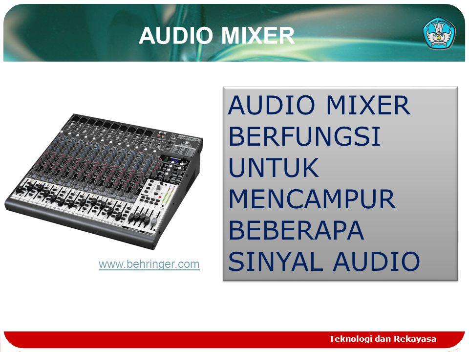 Teknologi dan Rekayasa AUDIO MIXER BERFUNGSI UNTUK MENCAMPUR BEBERAPA SINYAL AUDIO AUDIO MIXER www.behringer.com