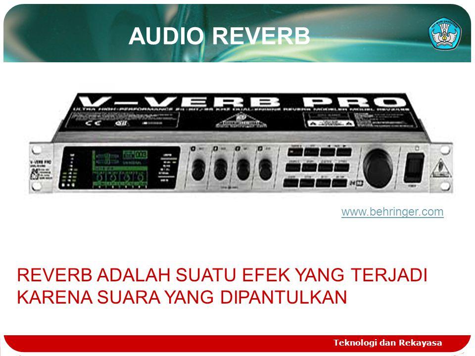AUDIO REVERB Teknologi dan Rekayasa REVERB ADALAH SUATU EFEK YANG TERJADI KARENA SUARA YANG DIPANTULKAN www.behringer.com