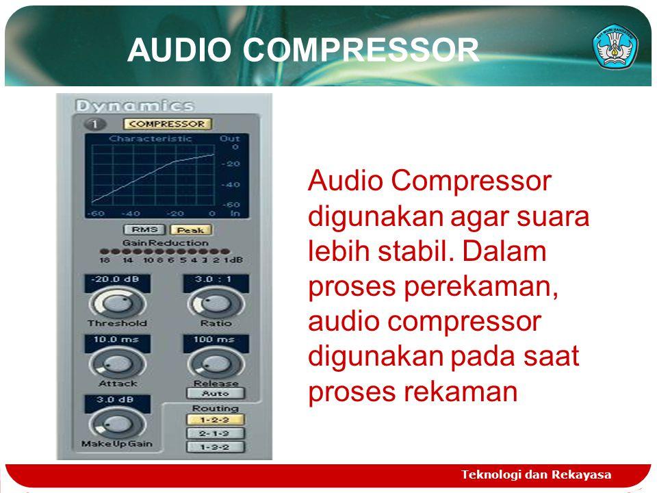 Teknologi dan Rekayasa Audio Compressor digunakan agar suara lebih stabil. Dalam proses perekaman, audio compressor digunakan pada saat proses rekaman