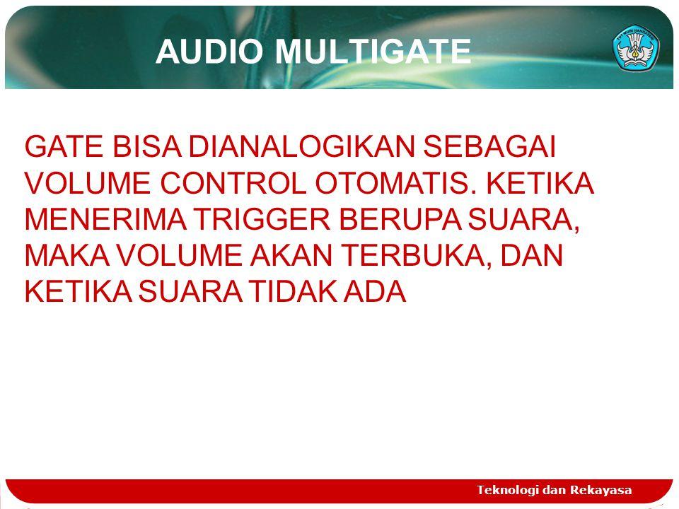 AUDIO MULTIGATE Teknologi dan Rekayasa GATE BISA DIANALOGIKAN SEBAGAI VOLUME CONTROL OTOMATIS. KETIKA MENERIMA TRIGGER BERUPA SUARA, MAKA VOLUME AKAN