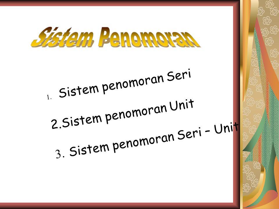 1. Sistem penomoran Seri 2. Sistem penomoran Unit 3. Sistem penomoran Seri – Unit
