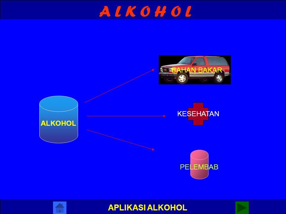 A L K O H O L APLIKASI ALKOHOL SIFAT-SIFAT ALKOHOL 1.SIFAT FISIK : a. bereaksi dengan air b. titik didih tinggi 2.SIFAT KIMIA a. bereaksi dengan logam