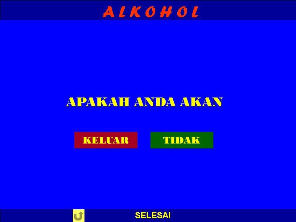 A L K O H O L EVALUASI S A L A H ! PERIKSA JAWABAN : 10. Alkohol yang merupakan hasil samping pembuatan sabun …. A. glikol B. etanol C. propanol D. gl