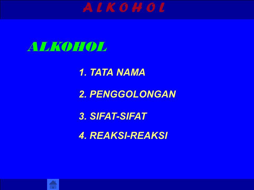 A L K O H O L 1. TATA NAMA ALKOHOL 2. PENGGOLONGAN 3. SIFAT-SIFAT 4. REAKSI-REAKSI