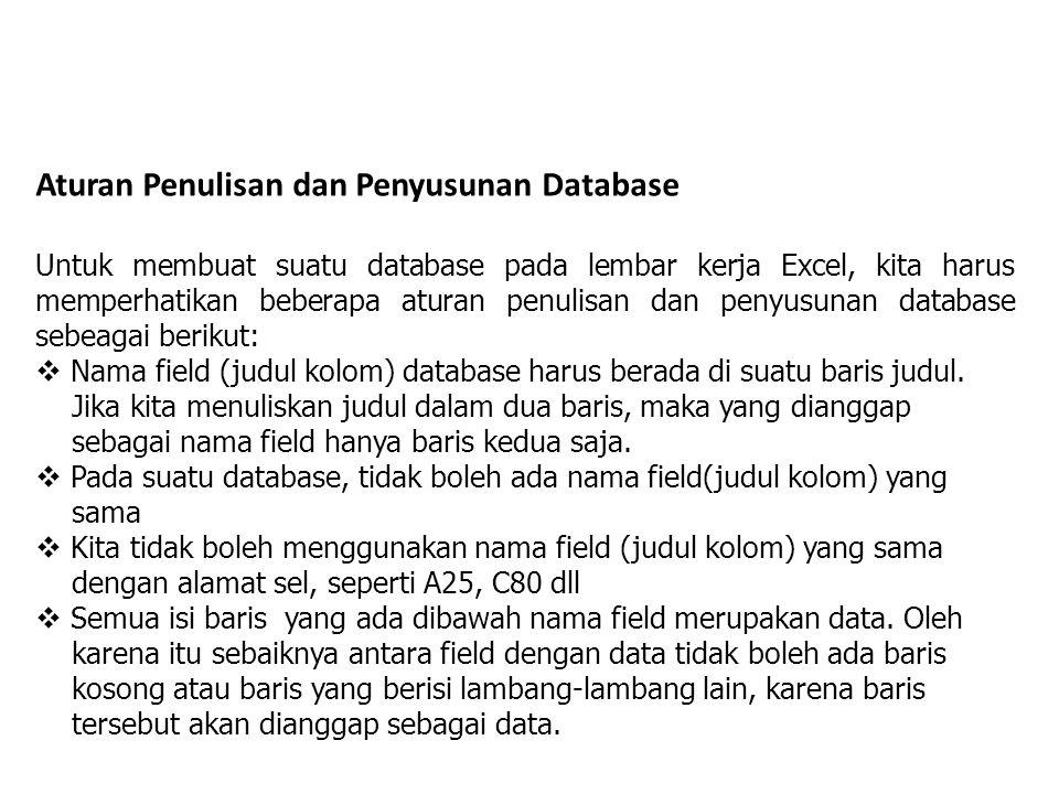 Aturan Penulisan dan Penyusunan Database Untuk membuat suatu database pada lembar kerja Excel, kita harus memperhatikan beberapa aturan penulisan dan penyusunan database sebeagai berikut:  Nama field (judul kolom) database harus berada di suatu baris judul.