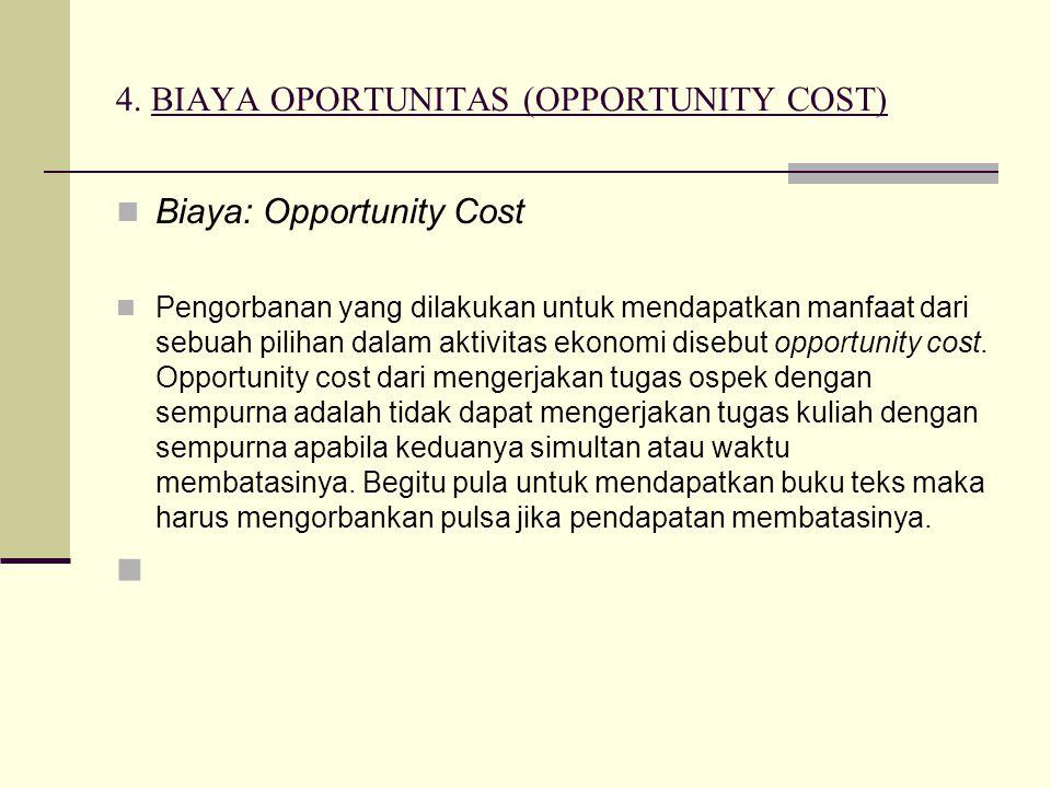 4. BIAYA OPORTUNITAS (OPPORTUNITY COST) Biaya: Opportunity Cost Pengorbanan yang dilakukan untuk mendapatkan manfaat dari sebuah pilihan dalam aktivit