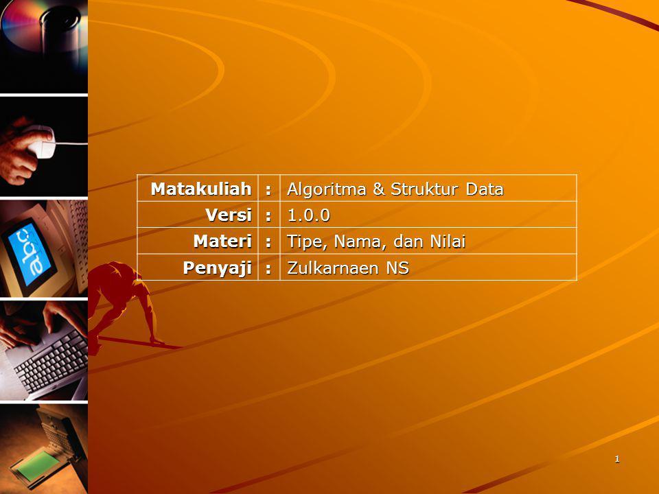Matakuliah: Algoritma & Struktur Data Versi:1.0.0 Materi: Tipe, Nama, dan Nilai Penyaji: Zulkarnaen NS 1