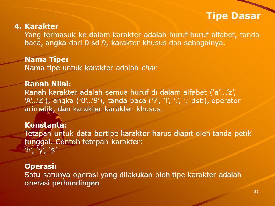 Tipe Dasar 11 4.Karakter Yang termasuk ke dalam karakter adalah huruf-huruf alfabet, tanda baca, angka dari 0 sd 9, karakter khusus dan sebagainya. Na