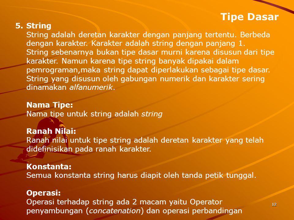 Tipe Dasar 12 5.String String adalah deretan karakter dengan panjang tertentu. Berbeda dengan karakter. Karakter adalah string dengan panjang 1. Strin