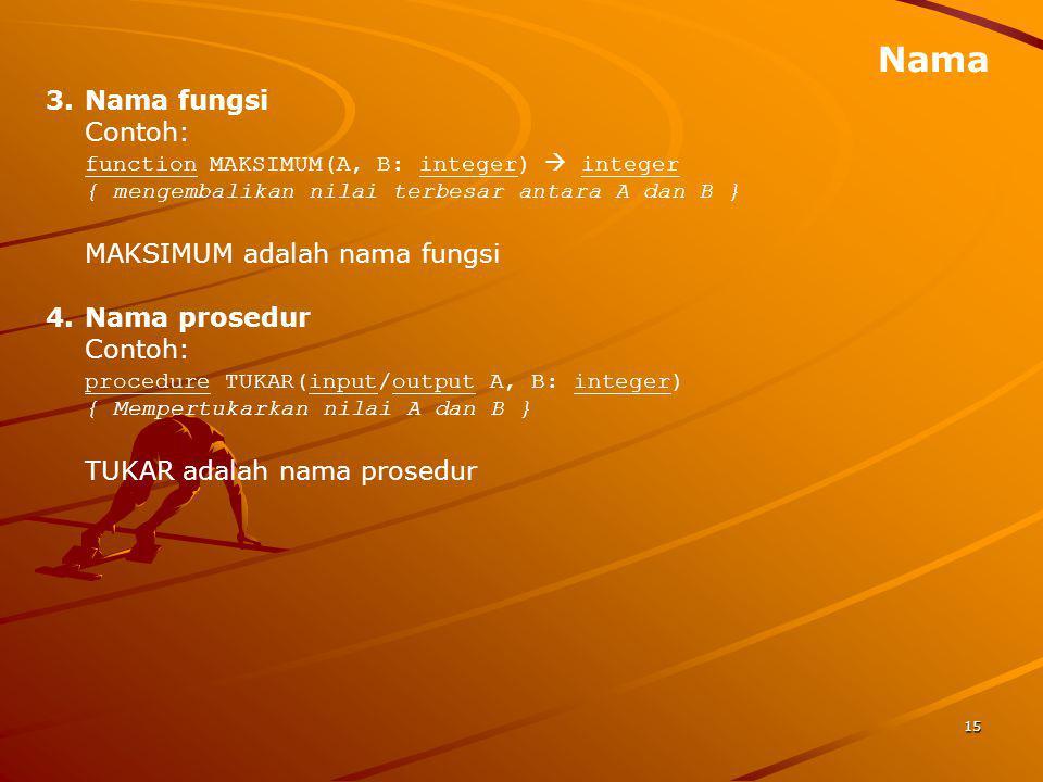 Nama 15 3.Nama fungsi Contoh: function MAKSIMUM(A, B: integer)  integer { mengembalikan nilai terbesar antara A dan B } MAKSIMUM adalah nama fungsi 4