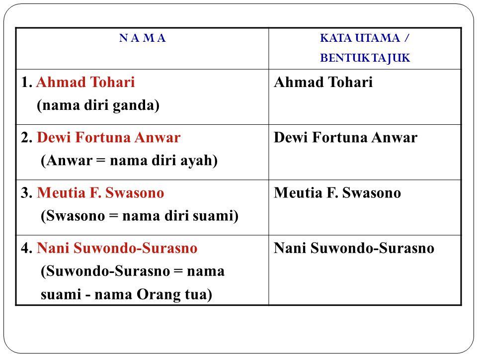 N A M AKATA UTAMA / BENTUK TAJUK 1. Ahmad Tohari (nama diri ganda) Ahmad Tohari 2. Dewi Fortuna Anwar (Anwar = nama diri ayah) Dewi Fortuna Anwar 3. M