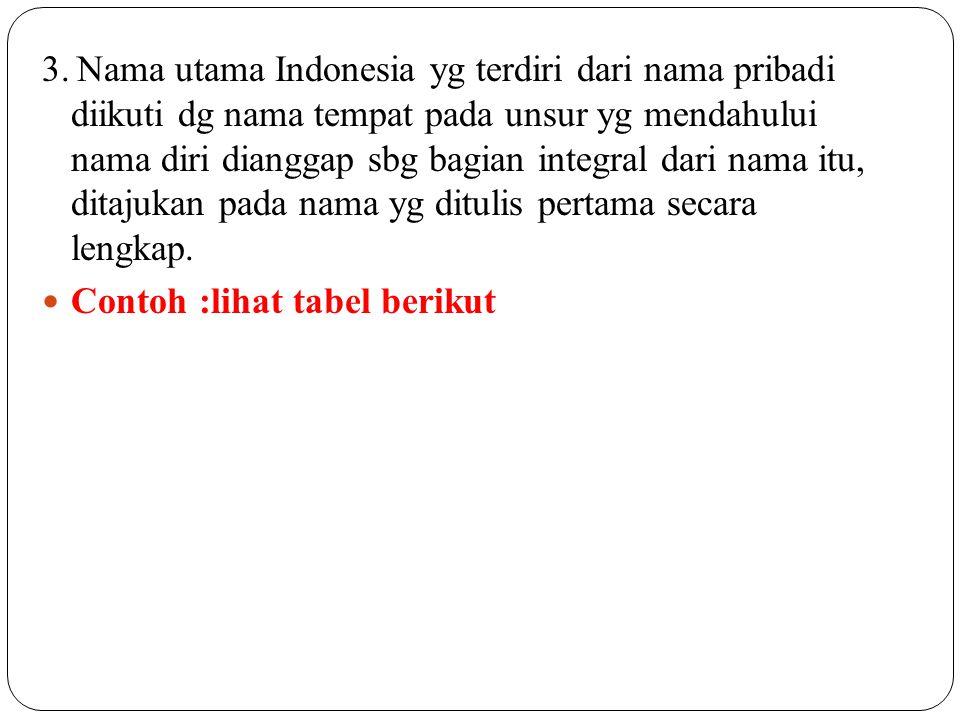 3. Nama utama Indonesia yg terdiri dari nama pribadi diikuti dg nama tempat pada unsur yg mendahului nama diri dianggap sbg bagian integral dari nama