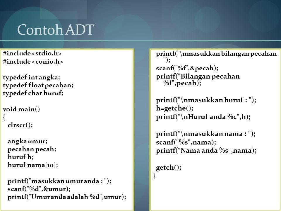 Contoh ADT #include typedef int angka; typedef float pecahan; typedef char huruf; void main() { clrscr(); angka umur; pecahan pecah; huruf h; huruf na