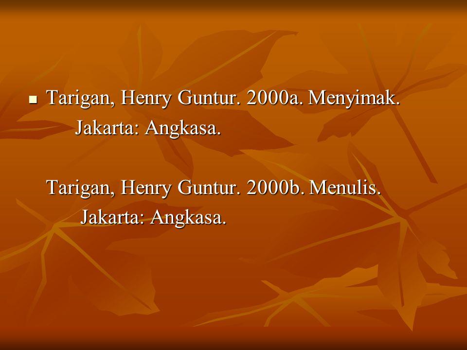 Tarigan, Henry Guntur.2000a. Menyimak. Tarigan, Henry Guntur.