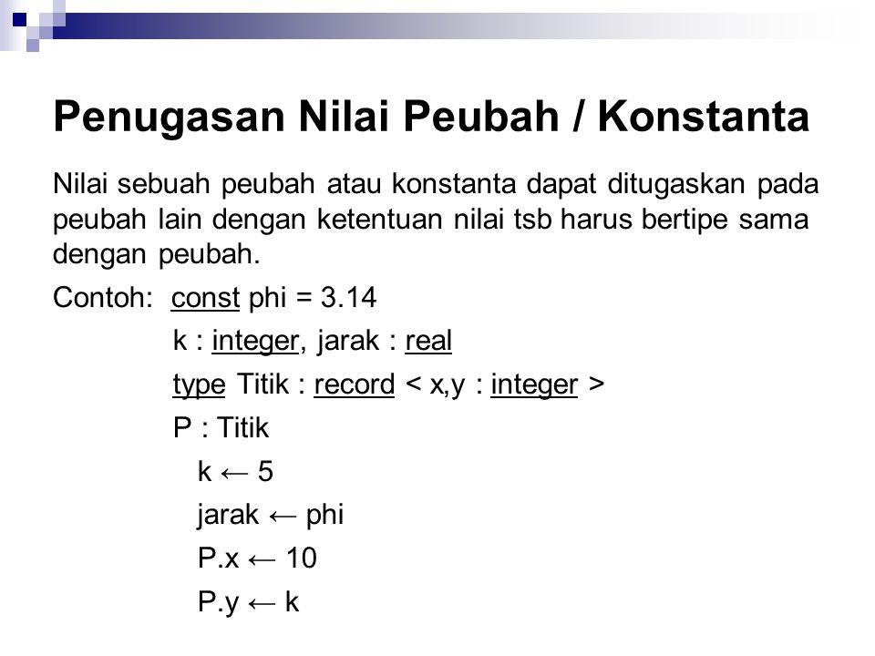 Penugasan Nilai Peubah / Konstanta Nilai sebuah peubah atau konstanta dapat ditugaskan pada peubah lain dengan ketentuan nilai tsb harus bertipe sama dengan peubah.