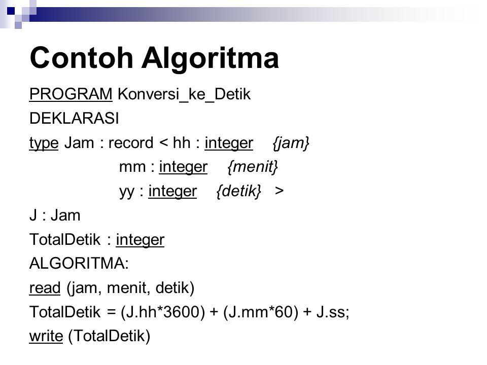 Contoh Algoritma PROGRAM Konversi_ke_Detik DEKLARASI type Jam : record < hh : integer {jam} mm : integer {menit} yy : integer {detik} > J : Jam TotalD