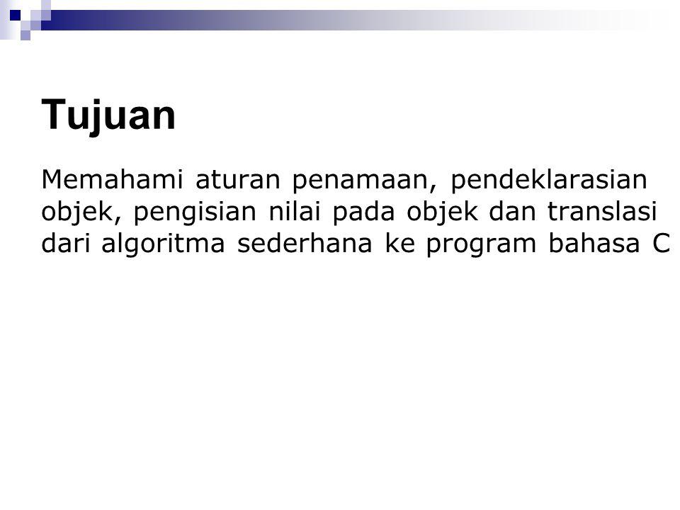 Nama Dalam algoritma dan pemrograman, nama digunakan untuk mengidentifikasi dan mengacu sebuah objek.