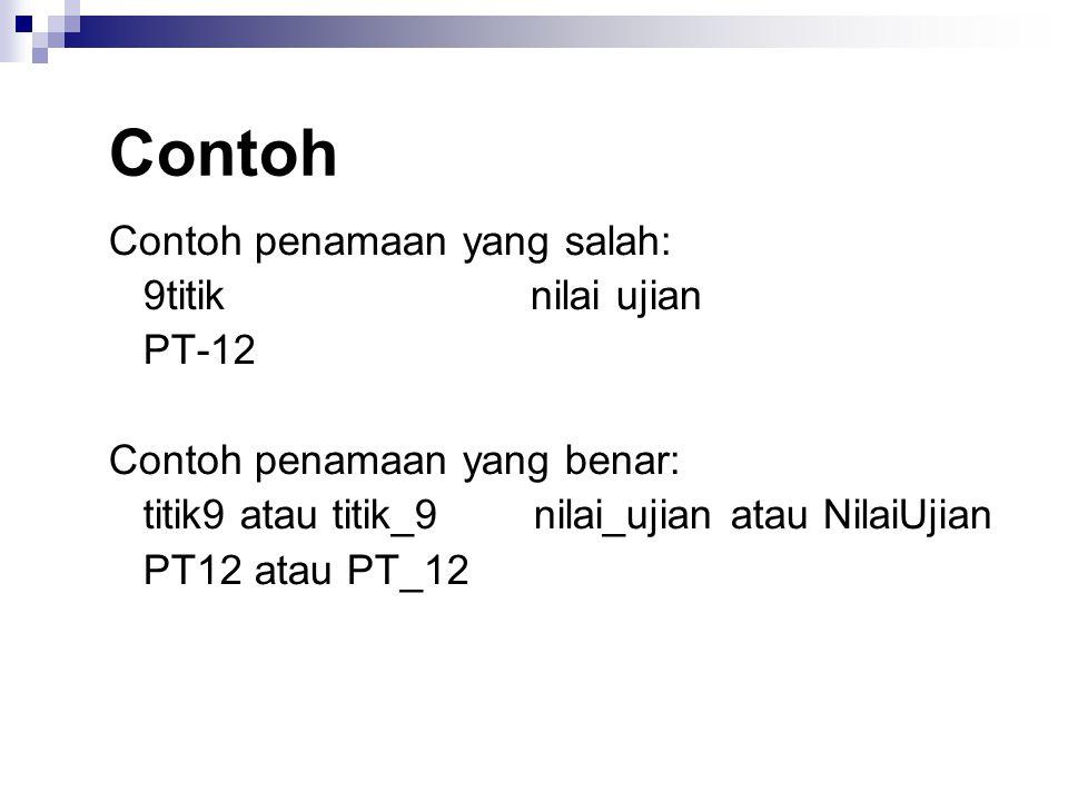 Contoh Contoh penamaan yang salah: 9titik nilai ujian PT-12 Contoh penamaan yang benar: titik9 atau titik_9 nilai_ujian atau NilaiUjian PT12 atau PT_12