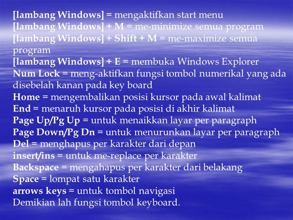 [lambang Windows] = mengaktifkan start menu [lambang Windows] + M = me-minimize semua program [lambang Windows] + Shift + M = me-maximize semua program [lambang Windows] + E = membuka Windows Explorer Num Lock = meng-aktifkan fungsi tombol numerikal yang ada disebelah kanan pada key board Home = mengembalikan posisi kursor pada awal kalimat End = menaruh kursor pada posisi di akhir kalimat Page Up/Pg Up = untuk menaikkan layar per paragraph Page Down/Pg Dn = untuk menurunkan layar per paragraph Del = menghapus per karakter dari depan insert/ins = untuk me-replace per karakter Backspace = mengahapus per karakter dari belakang Space = lompat satu karakter arrows keys = untuk tombol navigasi Demikian lah fungsi tombol keyboard.