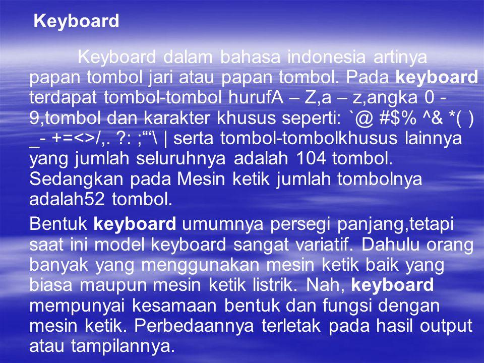 Keyboard Keyboard dalam bahasa indonesia artinya papan tombol jari atau papan tombol.