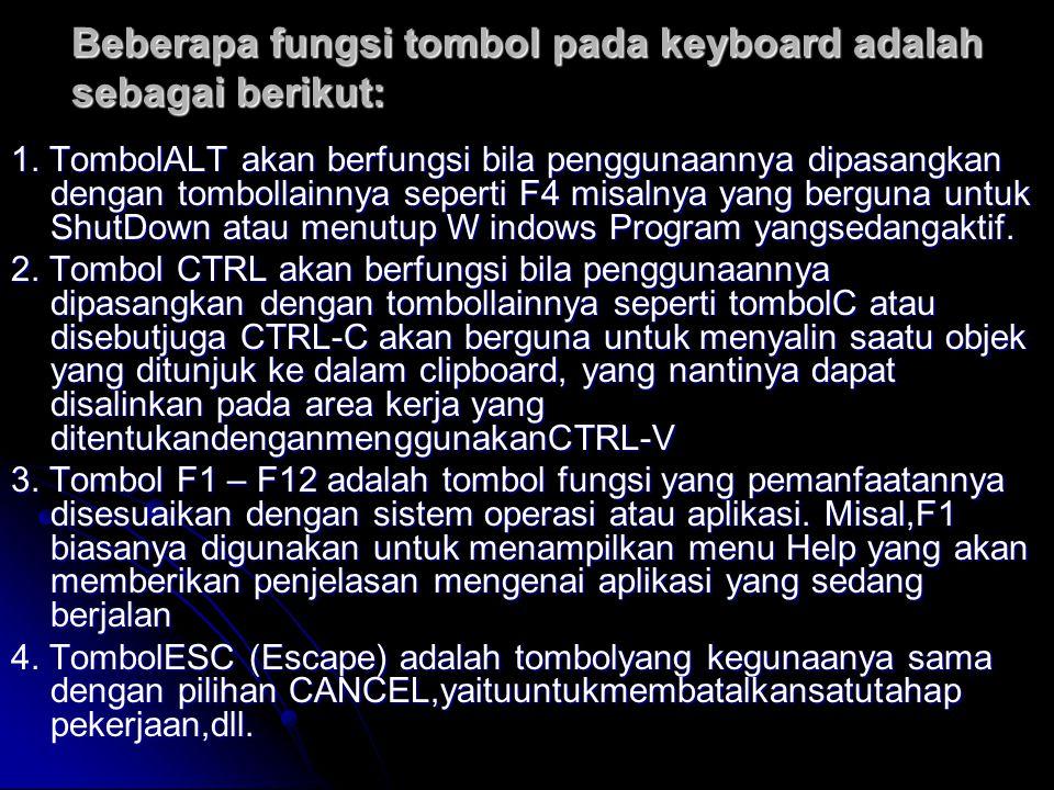 Beberapa fungsi tombol pada keyboard adalah sebagai berikut: 1.