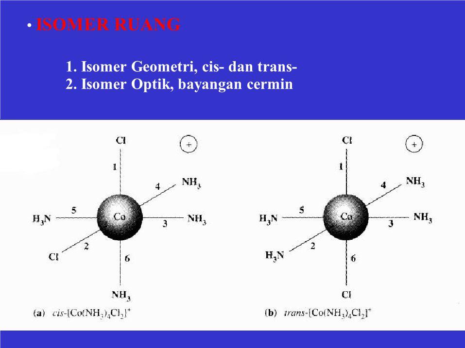 ISOMER RUANG 1. Isomer Geometri, cis- dan trans- 2. Isomer Optik, bayangan cermin