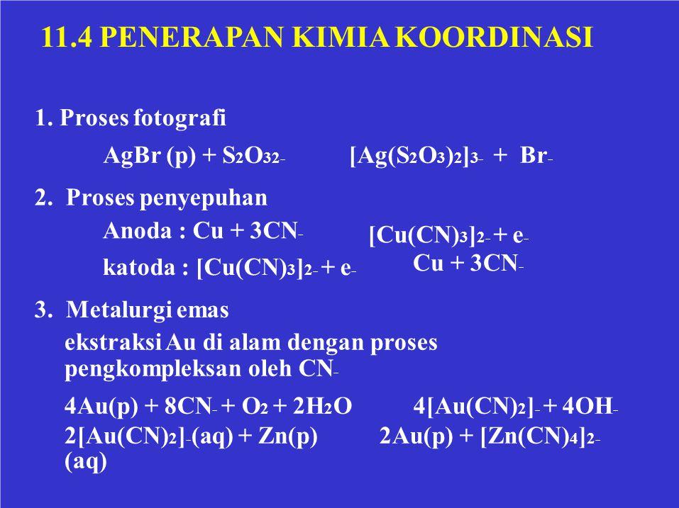 11.4 PENERAPAN KIMIA KOORDINASI 1. Proses fotografi AgBr (p) + S 2 O 32- [Ag(S 2 O 3 ) 2 ] 3- + Br - 2. Proses penyepuhan Anoda : Cu + 3CN - [Cu(CN) 3