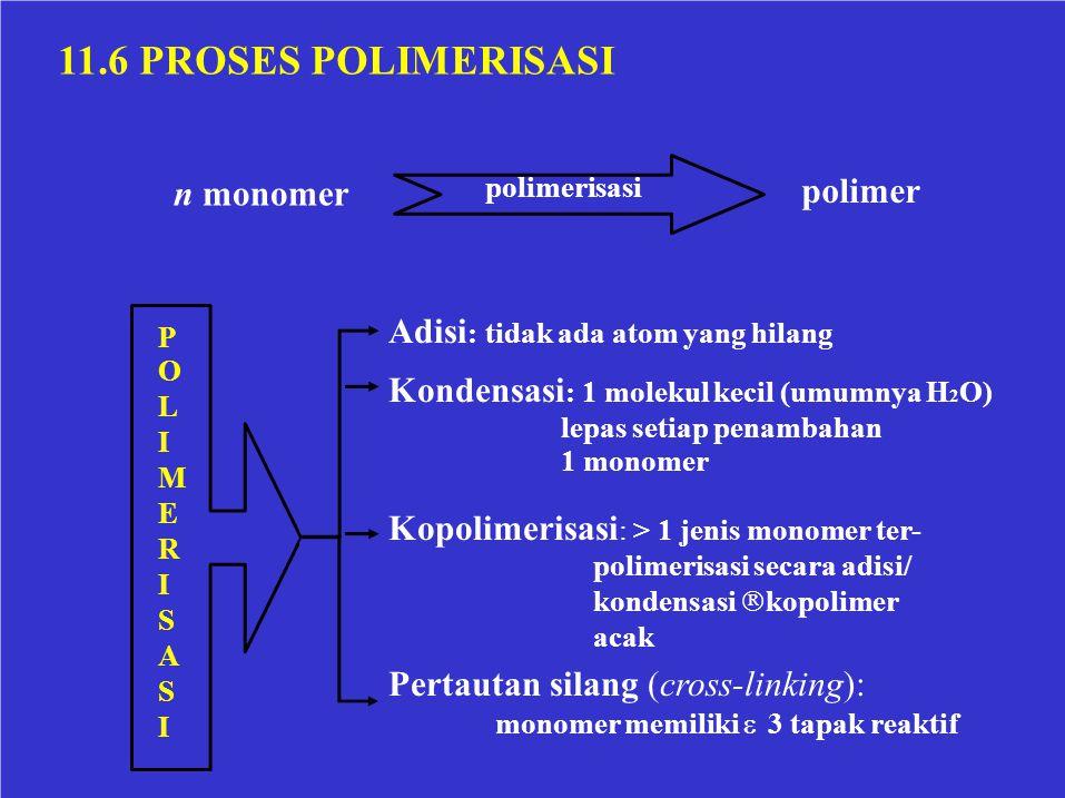 11.6 PROSES POLIMERISASI polimerisasi polimer n monomer POLIMERISASIPOLIMERISASI Adisi : tidak ada atom yang hilang Kondensasi : 1 molekul kecil (umum