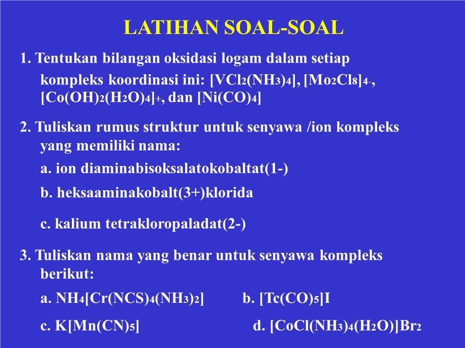 LATIHAN SOAL-SOAL 1. Tentukan bilangan oksidasi logam dalam setiap kompleks koordinasi ini: [VCl 2 (NH 3 ) 4 ], [Mo 2 Cl 8 ] 4-, [Co(OH) 2 (H 2 O) 4 ]