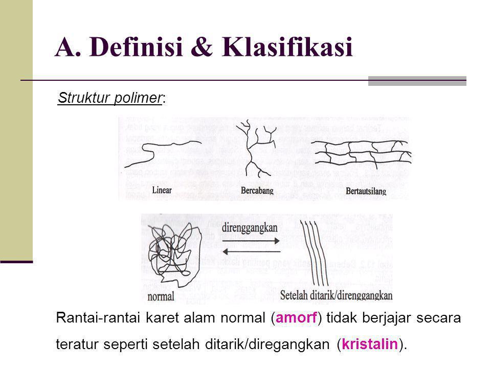 A. Definisi & Klasifikasi Struktur polimer: Rantai-rantai karet alam normal (amorf) tidak berjajar secara teratur seperti setelah ditarik/diregangkan