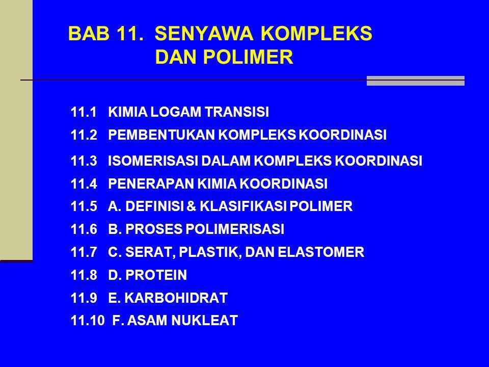 BAB 11. SENYAWA KOMPLEKS DAN POLIMER 11.1 KIMIA LOGAM TRANSISI 11.2 PEMBENTUKAN KOMPLEKS KOORDINASI 11.3 ISOMERISASI DALAM KOMPLEKS KOORDINASI 11.4 PE