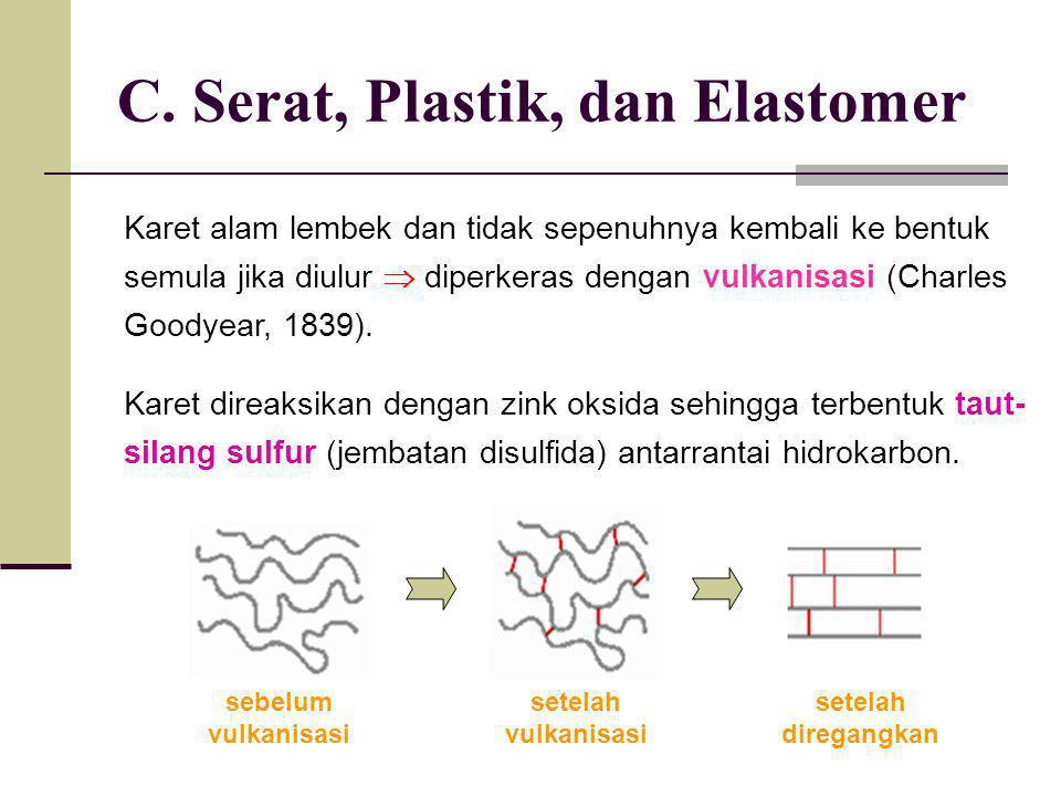 C. Serat, Plastik, dan Elastomer Karet alam lembek dan tidak sepenuhnya kembali ke bentuk semula jika diulur  diperkeras dengan vulkanisasi (Charles