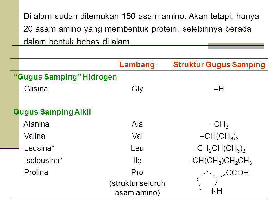 LambangStruktur Gugus Samping Gugus Samping Hidrogen GlisinaGly–H Gugus Samping Alkil AlaninaAla–CH 3 ValinaVal–CH(CH 3 ) 2 Leusina*Leu–CH 2 CH(CH 3 ) 2 Isoleusina*Ile –CH(CH 3 )CH 2 CH 3 ProlinaPro (struktur seluruh asam amino) Di alam sudah ditemukan 150 asam amino.