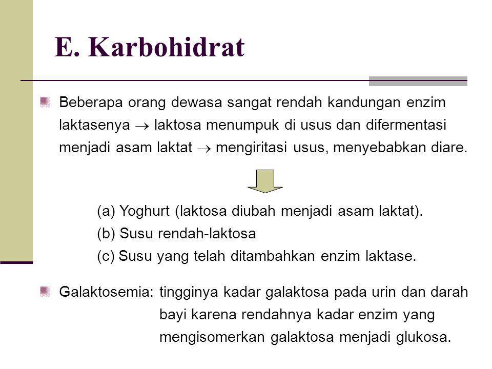 E. Karbohidrat Beberapa orang dewasa sangat rendah kandungan enzim laktasenya  laktosa menumpuk di usus dan difermentasi menjadi asam laktat  mengir