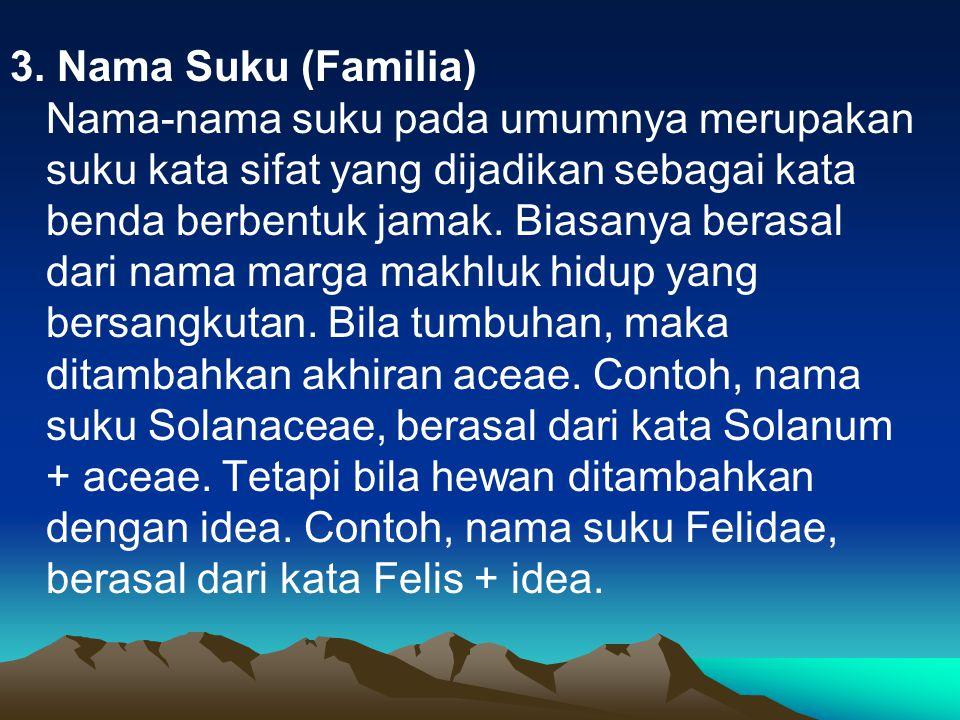 3. Nama Suku (Familia) Nama-nama suku pada umumnya merupakan suku kata sifat yang dijadikan sebagai kata benda berbentuk jamak. Biasanya berasal dari